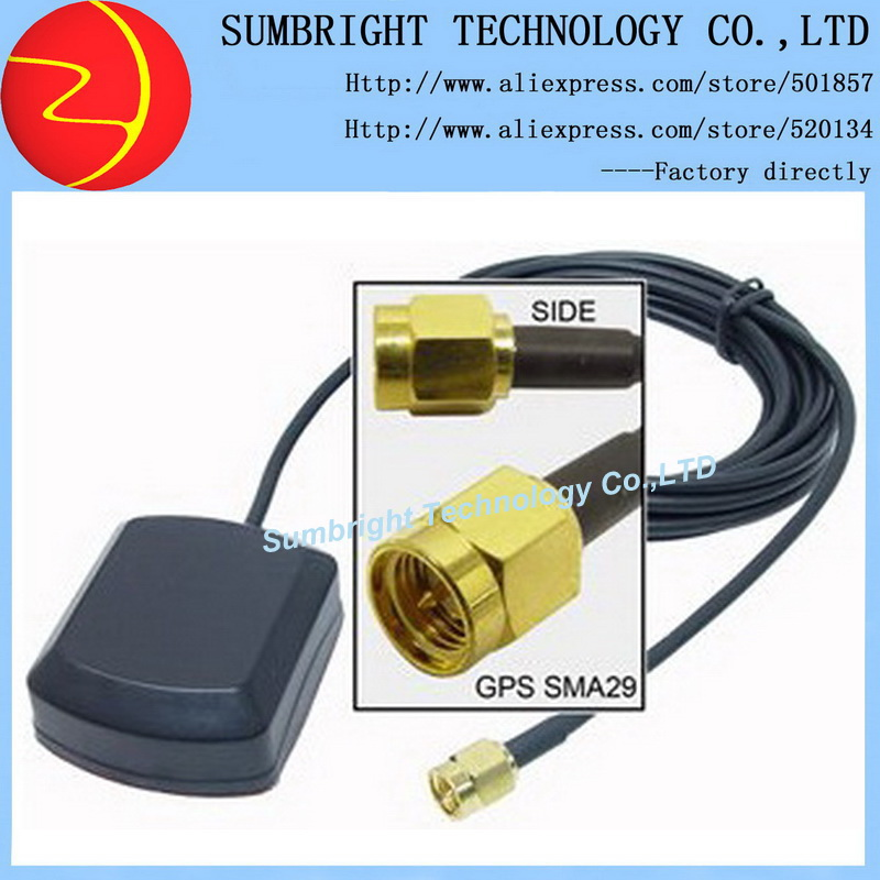 SB-CA119-SMA-3M 100pcs*car magnetic SMA waterproof ceramic patch outdoor high quality 1575.42MHz active China GPS antenna(Hong Kong)