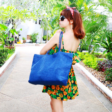 2016 New Super Large Capacity Beach Bag Blue Female Vintage Bag Casual Summer Beach Straw Woven Big Travel Tote Shoulder Bags(China (Mainland))