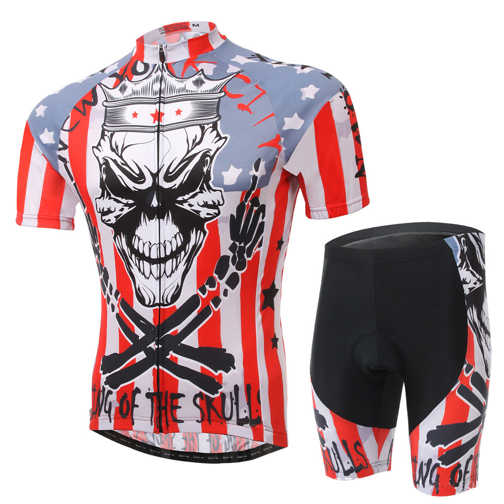 2015 New Skull Cycling Bike Short Sleeve Clothing Bicycle Wear Suit Jersey +(Bib) Shorts Free Shipping<br><br>Aliexpress