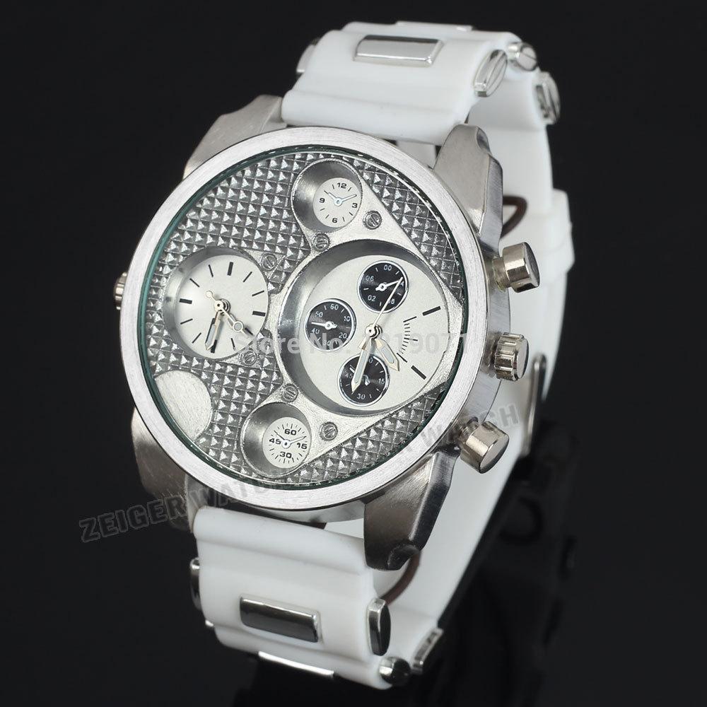 all white zeiger 50mm big fashion mens quartz dual