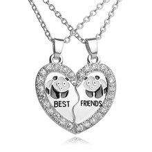 "Buy ""BEST FRIENDS"" BBF 2 part Shiny Zircon Broken Heart Pendant animal panda crystal pendant Chain Necklace friendship Gift for $1.39 in AliExpress store"