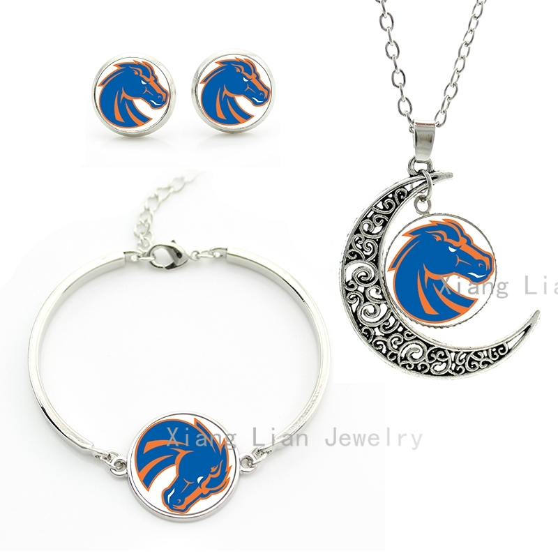 Super cool wild animals horse pendant necklace earrings bracelet set Denver Broncos team rugby jewelry sets mustang gifts NF003(China (Mainland))