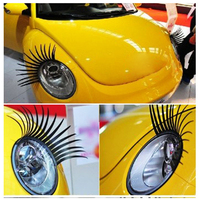 2pcs/lot free shipping Fashion Car Eyelashes PVC Logo Stickers Lashes Decal Accessories new design