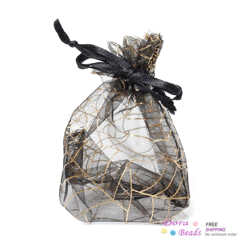 Organza Drawable Wedding Gift Bags&Pouches Black Spider Web Pattern 11cm x 8.5cm,50PCs (B35719) 8years(China (Mainland))