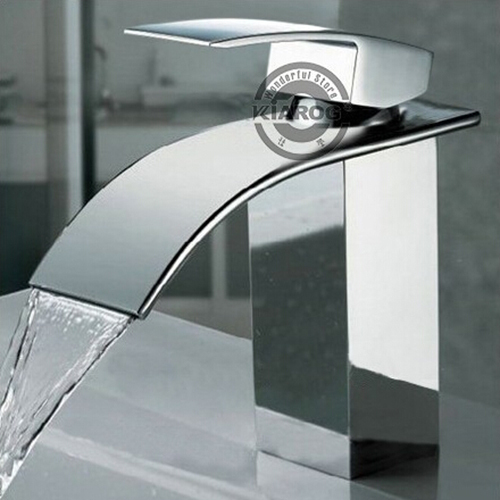 Brand New Polished Basin sink waterfall Tap, single lever single hole Deck Mounted basin waterfall Faucet.Faucet. Mixer.WB-003(China (Mainland))