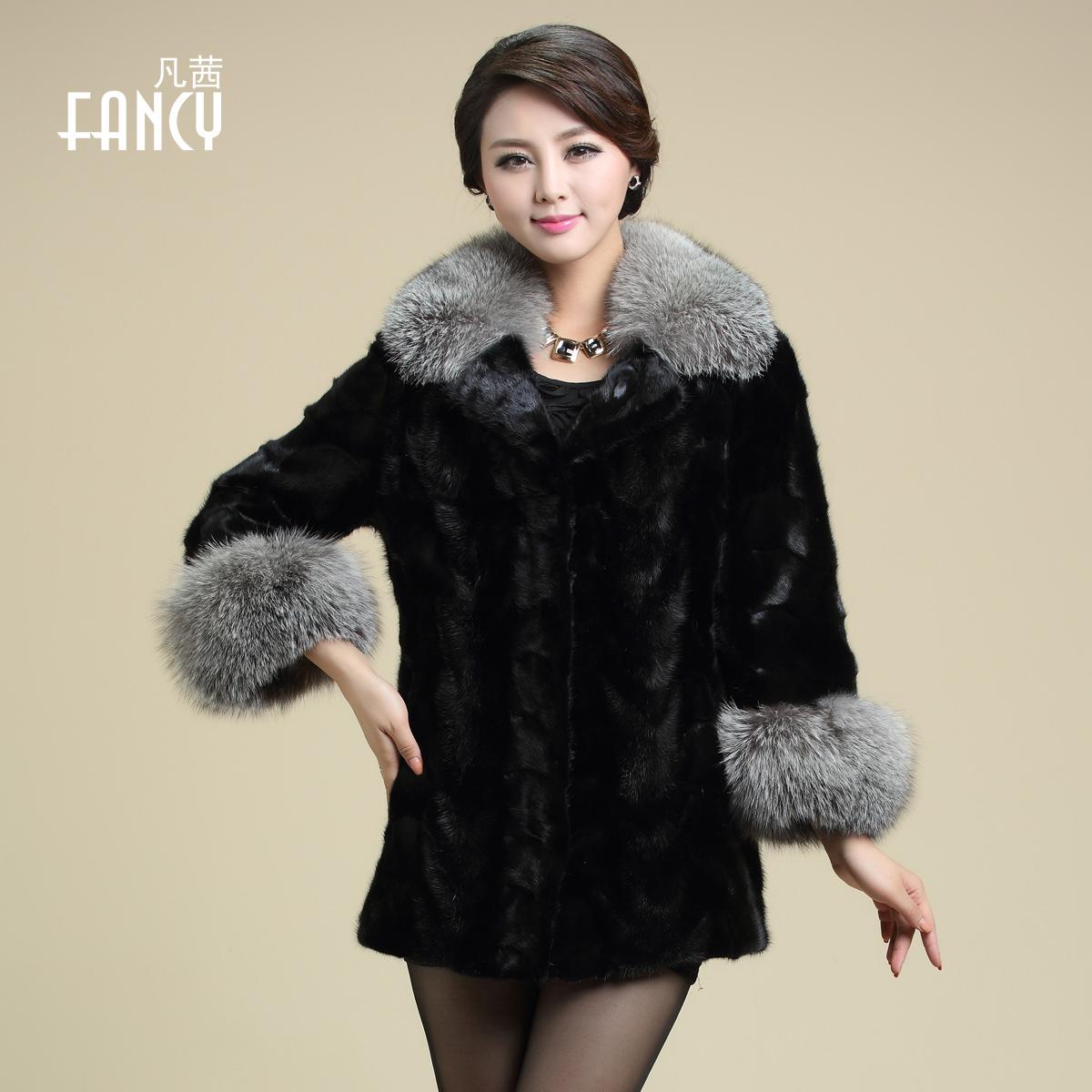 2013 Autumn and Winter Womens Natural Piece Mink Fur Coat with Silver Fox Fur Collar Female Warm Outerwear Garment VK2001Одежда и ак�е��уары<br><br><br>Aliexpress