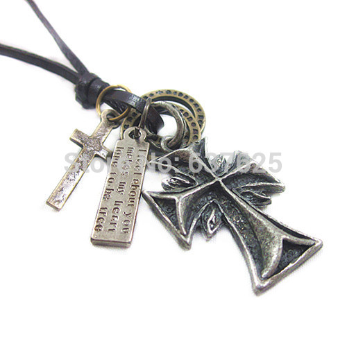 Unisex antique silver cross Charm Pendant Adjustable Genuine Leather sweater chain Necklace Cordroxi(China (Mainland))