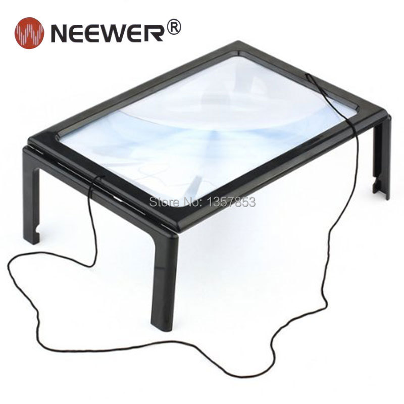 Микроскоп NEEWER A4 3 X 4 HANDS FREE MAGNIFYING GLASS A4 FULL PAGE 3X WITH CORD 3x a4 full page large giant hands free desk foldable magnifying glass magnifier for reading sewing knitting with 4 led lights page 3