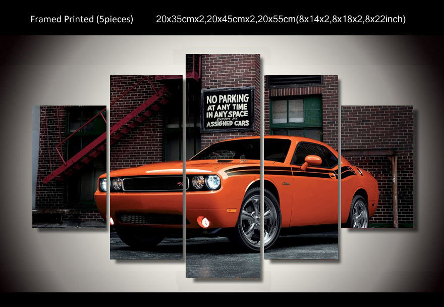 Framed Printed Car dodge challenger 5 piece picture painting wall art children's room decor poster canvas Free shipping/up-293(China (Mainland))