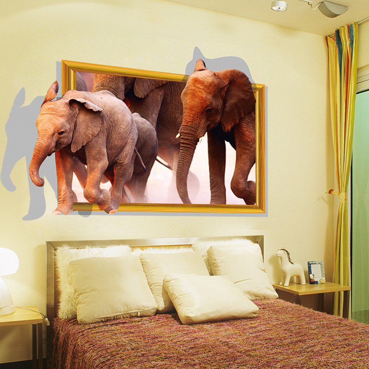 1pcs delicate african animal pvc 3d dual elephant wall for Elephant wall mural