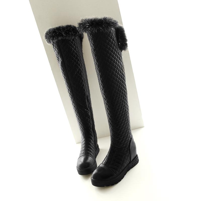 Fashion Women's sexy Rabbit Fur Boots Hidden Wedges Knee High Boots 2016 High Heels Warm Winter Boots Platform Shoes Woman