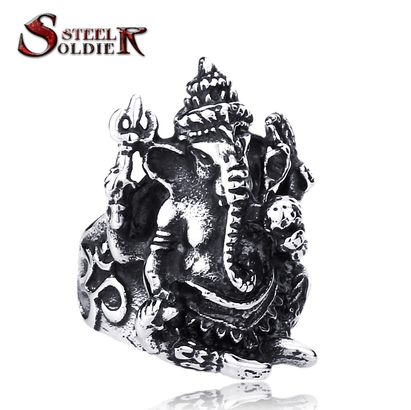 Steel soldier Men Thailand Buddha elephant ring Stainless Steel Silver Thai Pikanet GANESHA GANESH Ring jewelry BR8-105(China (Mainland))