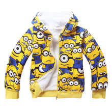 Girls&Boys Hoodies And Sweatshirts 2016 Winter Cotton Hooded Minion Children Hoodies Warm Children Outerwear Kids Clothes 30393