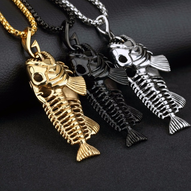 Men`s Necklace with Fish Design