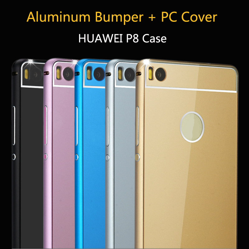 2in1 Metal Frame + PC Cover Luxury Cover Cell Accessories Bags Mobile Phone Cases Aluminum Bumper For HUAWEI P8 Lite Case 5inch(China (Mainland))