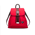 Fashion Nylon Splicing Top Layer Cowhide Backpack Trendy Women Preppy Style Drawstring Bag Waterproof Durable Buckle