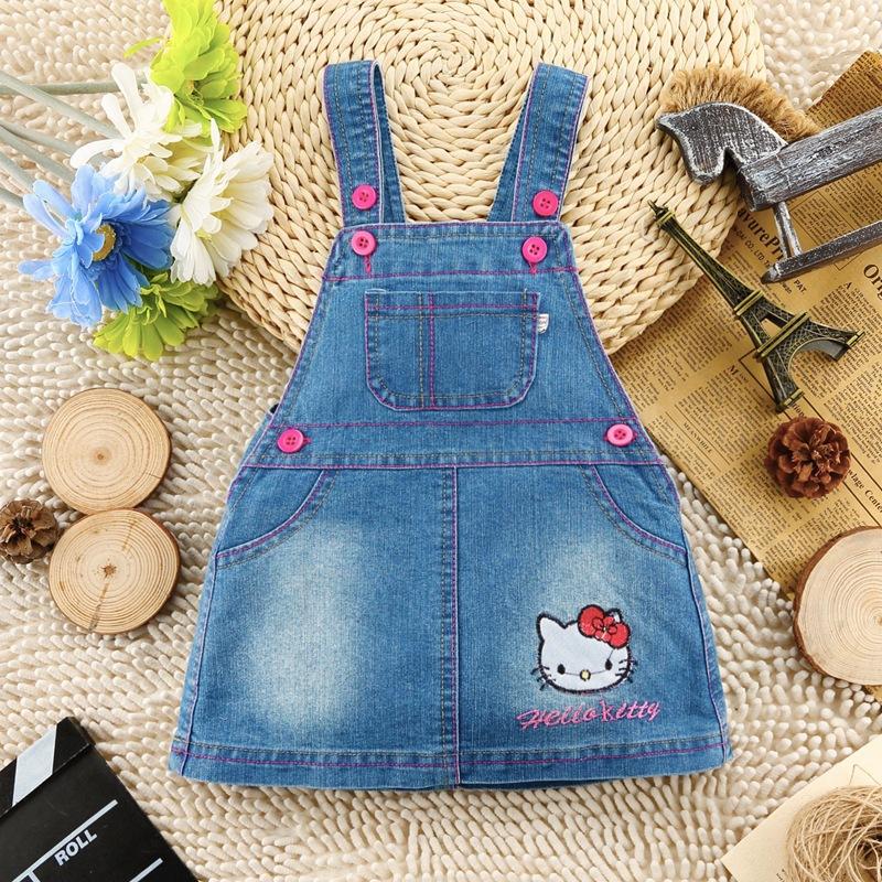 Гаджет  2015 New baby girls belt dress princess jean dresses hello kitty printed clothes girls summer clothes None Детские товары