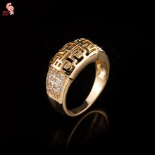 New Arrival 2015 Plating  18 K Gold High Quality  Crystal Hollow Fashion Ring For Women Wholesale