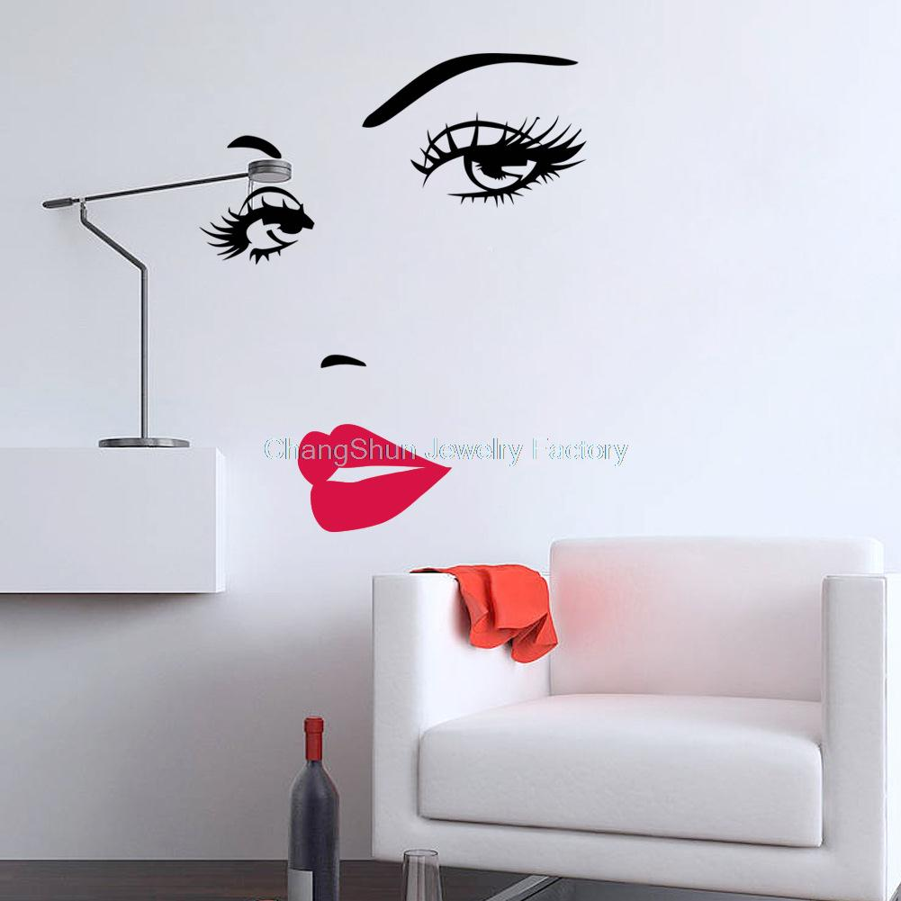 Wholesale Portrait Beautiful Woman Face Vinyl Art Decals Remove Wall  Stickers Quotes for Wall Decor Creative ...