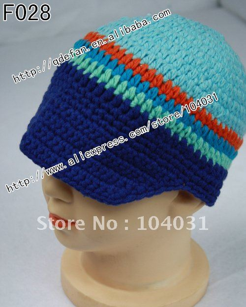 Free shipping (10pcs/lot)100% cotton crochet infant autumn newsboy hat and cap in blue for baby boys(China (Mainland))