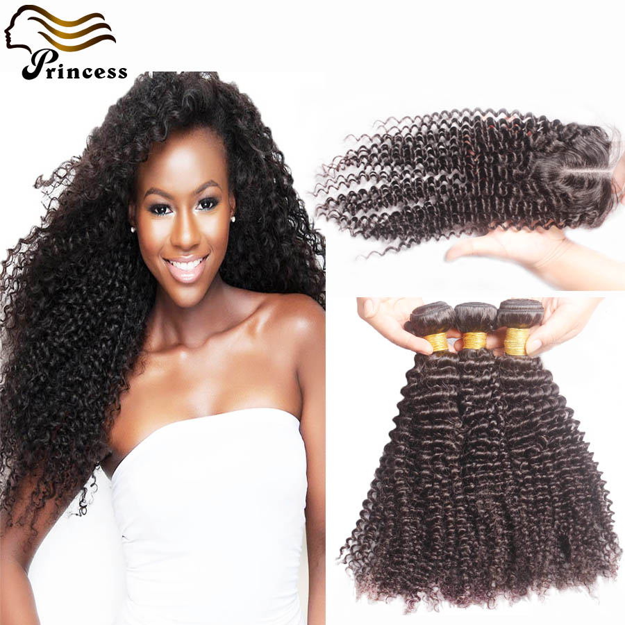 Top Quality Malaysian Human Hair With Closure 3 Bundles With Closures Malaysian Kinky Curly Hair With Closure Free Middle 3 Part