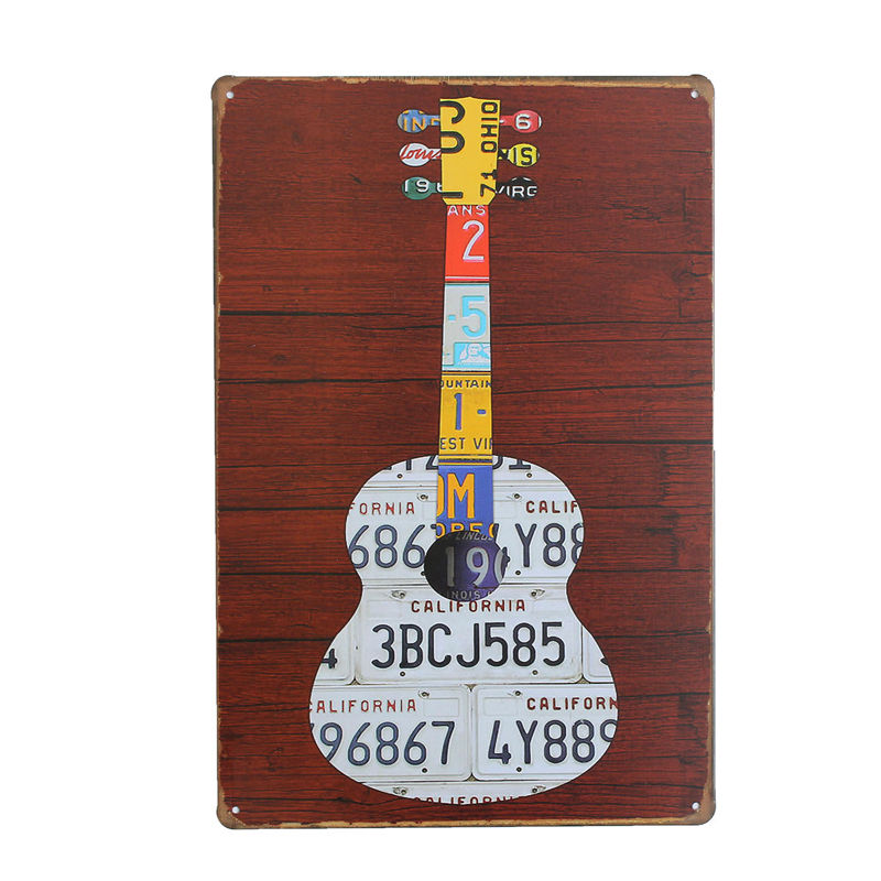modern Plate Guitar Vintage Sign Tin Metal Poster Drawing Hotel Bar Pub Club Iron Art Craft 20x30cm Home Decor