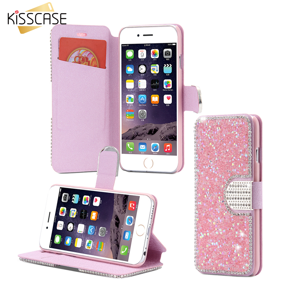KISSCASE Silk Skin Glitter Diamond Case Apple iPhone 6 6S Plus Case Wallet Stand Leather Cover Card Slot Flip Case Shell I6