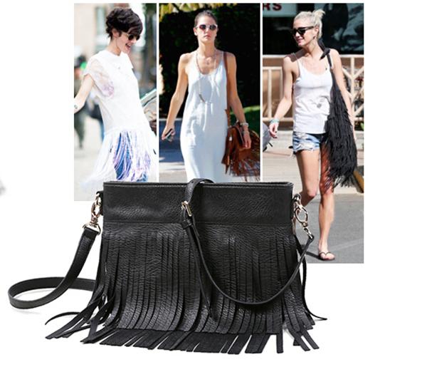High Quality Fringed Leather Bags Solid Women Messenger Bag Crossbody Bag Fashion Ladies Desigual Handbag Brands Bolsa Feminina(China (Mainland))