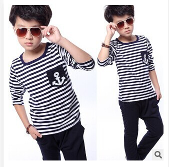 2014 new children's clothing autumn models male boys sports clothes stripe long sleeve suit children suits free shipping(China (Mainland))