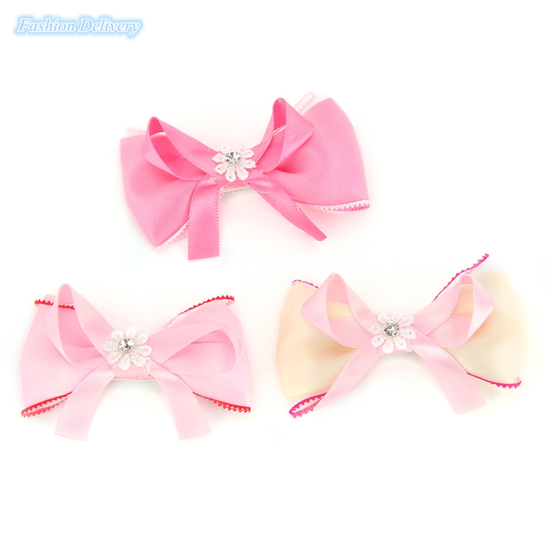 10pcs/lot Korea Style Kids Hairpins Bow Tie Shape Ribbons Lace Crystal Hair Clips Girls Hair Accessories(China (Mainland))