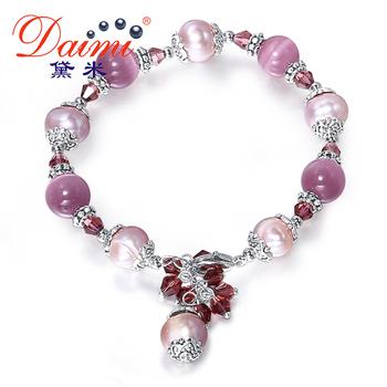 DAIMI Natural Pearls Cats Eyes Stone Turquoise Jade Agate Bracelets, Bohemian Jewelry, Tassel Bracelet, Pearl Bracelets