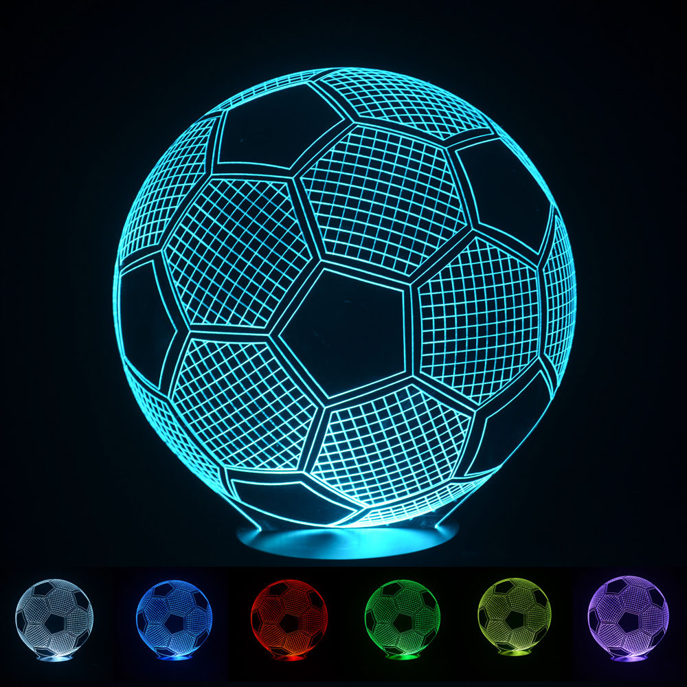 Creative LED Blubling 3D Table Desk Lamp Football Soccer Shape Home Decor Gadget Nightlight for Children Electronic Lighting(China (Mainland))