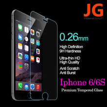 JG Tempered Glass for iPhone 6S 6 Front 9H Hardness 2.5D Ultra HD Tempered Glass Screen Clear Screen Protector Free Shipping