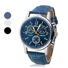 Unisex Round Case PU Band Quartz Analog Wrist Watch (Assorted Colors)