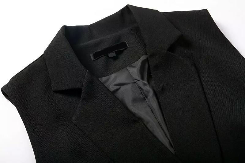 Sexy Женщины Trendy Retro Deep V - образный вырез Notched Воротник Карманы Brief Стиль Рукавless Suit Blazer Jumpsuit Короткий Rompers Playsuits