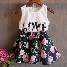 2016 New Arrival Cute Kid Girls Baby 2 Piece Sleeveless T-shirt Top Floral Lace Dress Suit Outfit(China (Mainland))