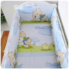 Promotion! 6PCS Bear crib bedding sets for kids,baby crib bedding sets,baby care bed (bumpers+sheet+pillow cover)