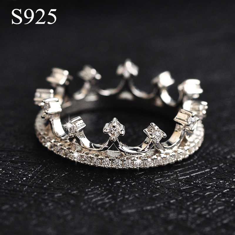 Luxury Crown Rings Full Austria Crystals 925 Sterling Silver Jewelry CZ Diamond Wedding Rings for women Anel bijoux top quality<br><br>Aliexpress