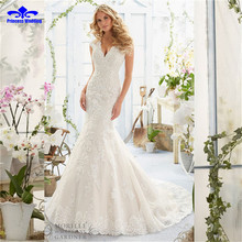 Buy V-neck Lace Wedding Gown Brush Train Cap Sleeve Backless vestido de noiva Appliques Bridal Dress 2017 Mermaid Wedding Dress for $236.00 in AliExpress store