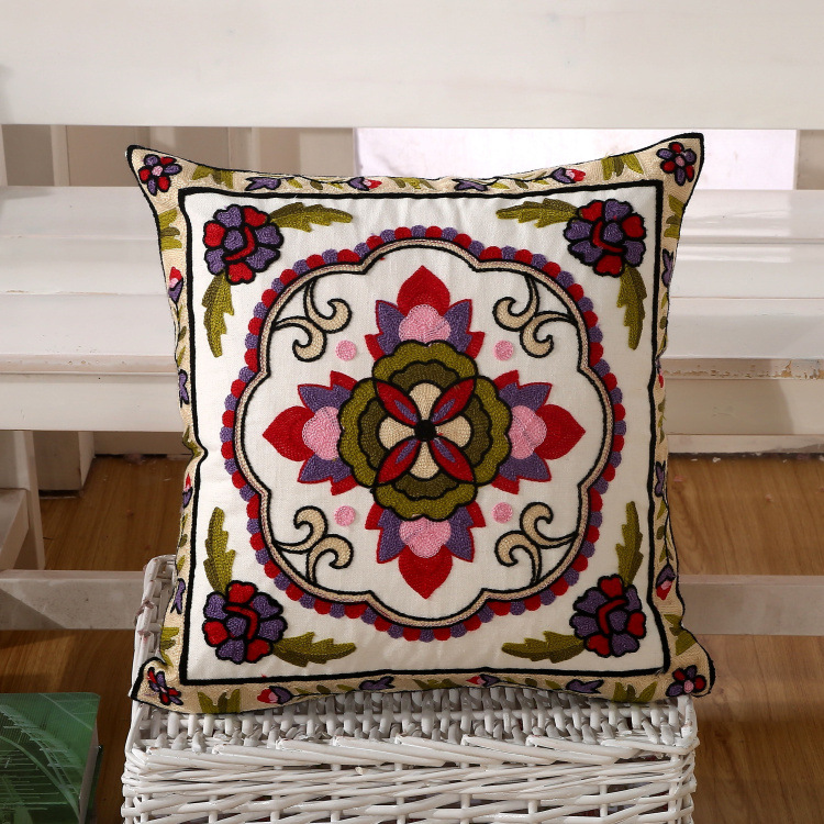 Cushion Without Inner Embroidered Cotton Square Home Decorative Pillow Pillowcase Almofada fundas de cojines azul YLW