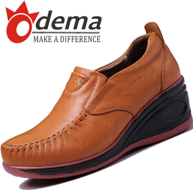 ODEMA 2015 Autumn Fashion Women Shoes Casual Sports Shoes Soft Genuine Leather Sneakers Lady Oxfords Walking Shoes<br><br>Aliexpress
