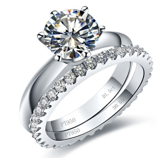 Real 14K White Gold Genuine Brand Jewelry Custom 3.55CT Engagement Rings Set Synthetic Diamond Rings Set 14K Wedding Gold Band(China (Mainland))