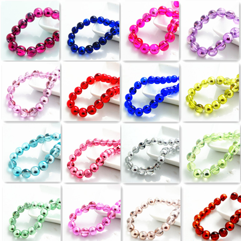 Wholesale fashion color 20pcs Crystal Glass Loose Spacer round Beads diy 10mm(China (Mainland))