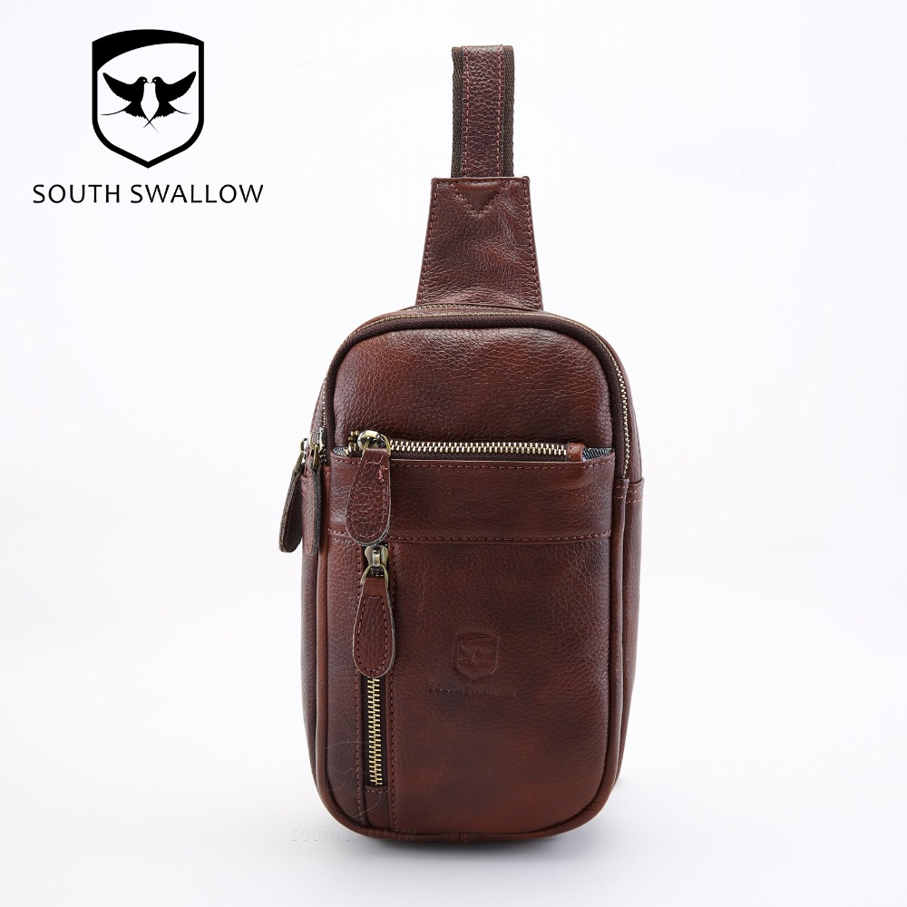 2016 Hot Sales New Fashion Men's Cross Body Bag Leather Sling Chest Pack Top Grain Cow Leather Riding Bike Messenger Bag B6484(China (Mainland))