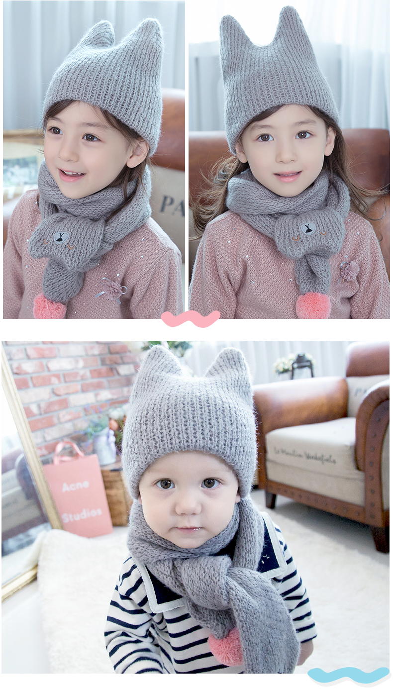 2017 Top Hot Sale Solid Boys Novelty Children Cotton Autumn And Winter Lovely Warm Wet Boy Girl Child Hat Scarf Two Piece Suit