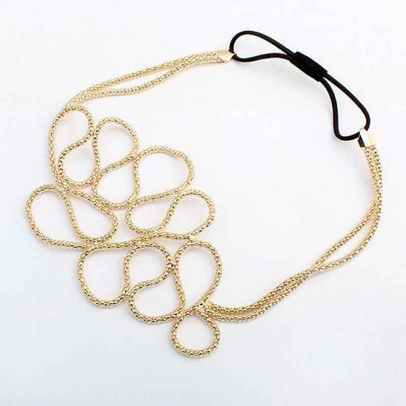 Women Fashion Metallic Hollow Corn Chain Hairband Hair Accessories(China (Mainland))