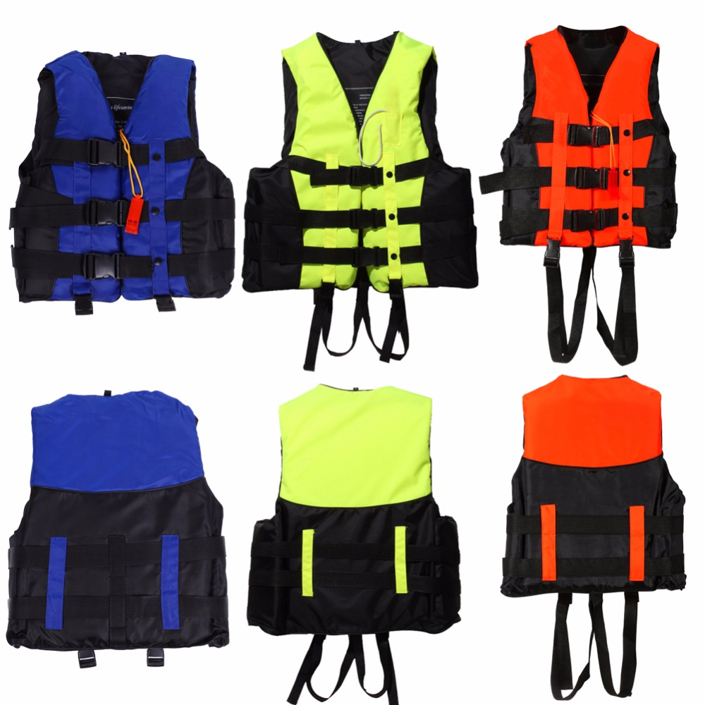 6 Sizes Durable Polyester Adult Life Jacket Professional Swimming Boating Ski Drifting Foam Vest with Whistle Prevention Flood(China (Mainland))