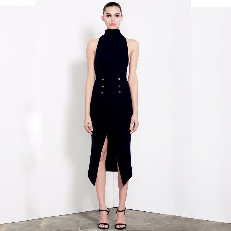 New Black/White Turtleneck Sleeveless Bandage Women Dress Sexy Front Slit Double Buttons Bodycon Stretchy Vestidos De Fiesta(China (Mainland))