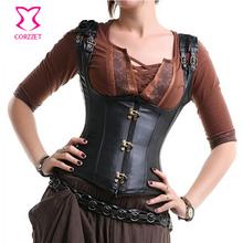 Black Steampunk Underbust Leather