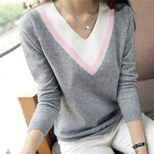 new high quality Autumn winter women knitted shirt long-sleeve outerwear V-neck sweater loose pullover female tops(China (Mainland))